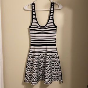 Black and White Striped bebe Dress